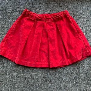 Girls Gap red corduroy skirt, size 7